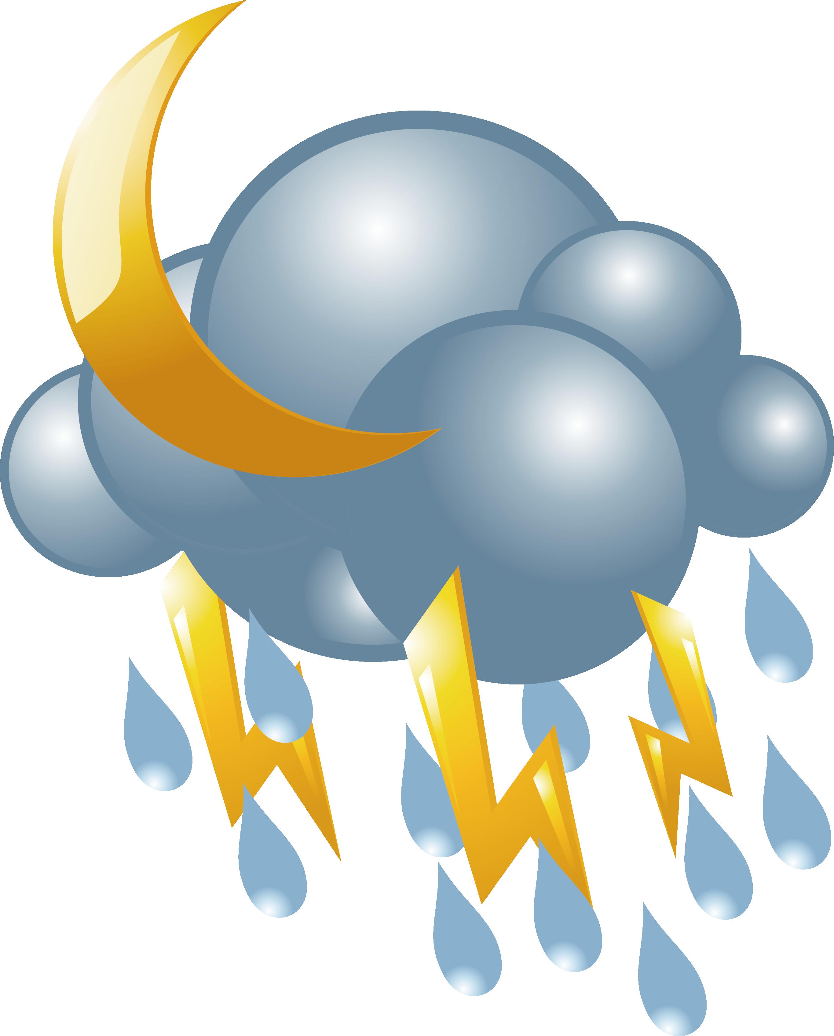 Lightning cloud icon vector. Clipart rain snow mix