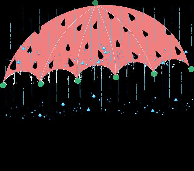 Umbrella showers splash water. Clipart rain spring