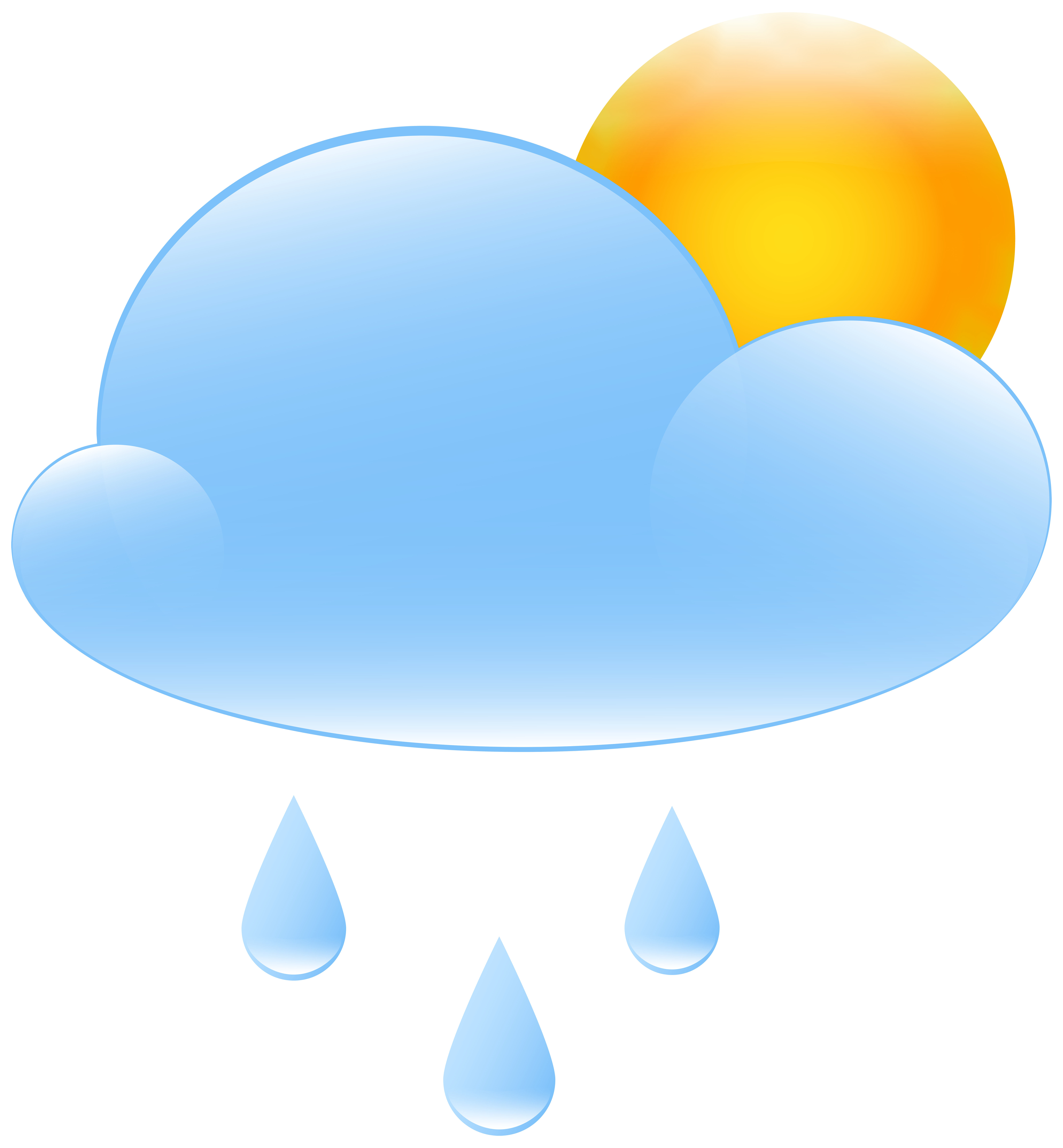 Clipart rain sun. Partly cloudy with and