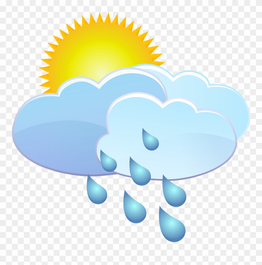 Clipart rain sun. Clouds and drops weather