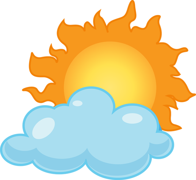 collection of rain. Sunny clipart cloudy