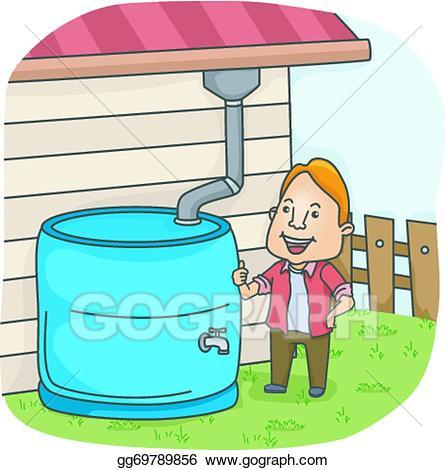 Vector illustration rainwater collection. Clipart rain water