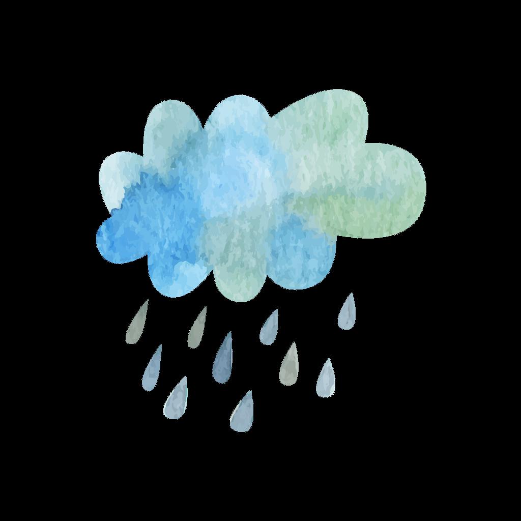Ftestickers cloud blueandgreen. Clipart rain watercolor