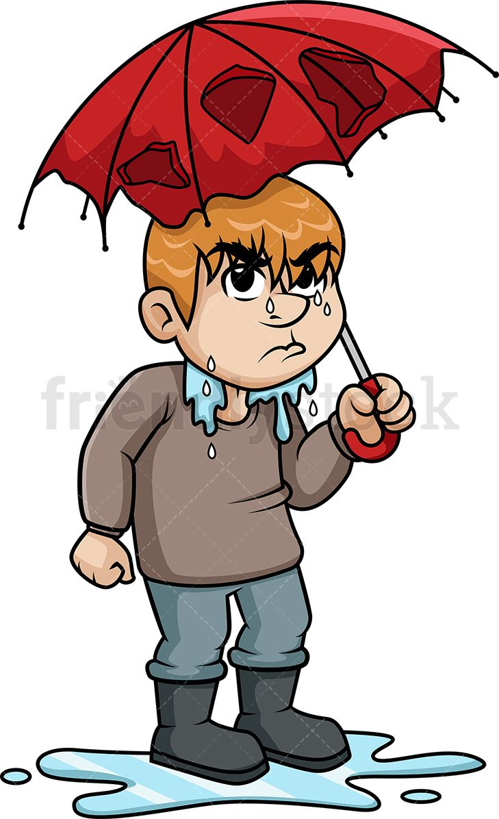 Wet clipart wet man. Upset from rain misc