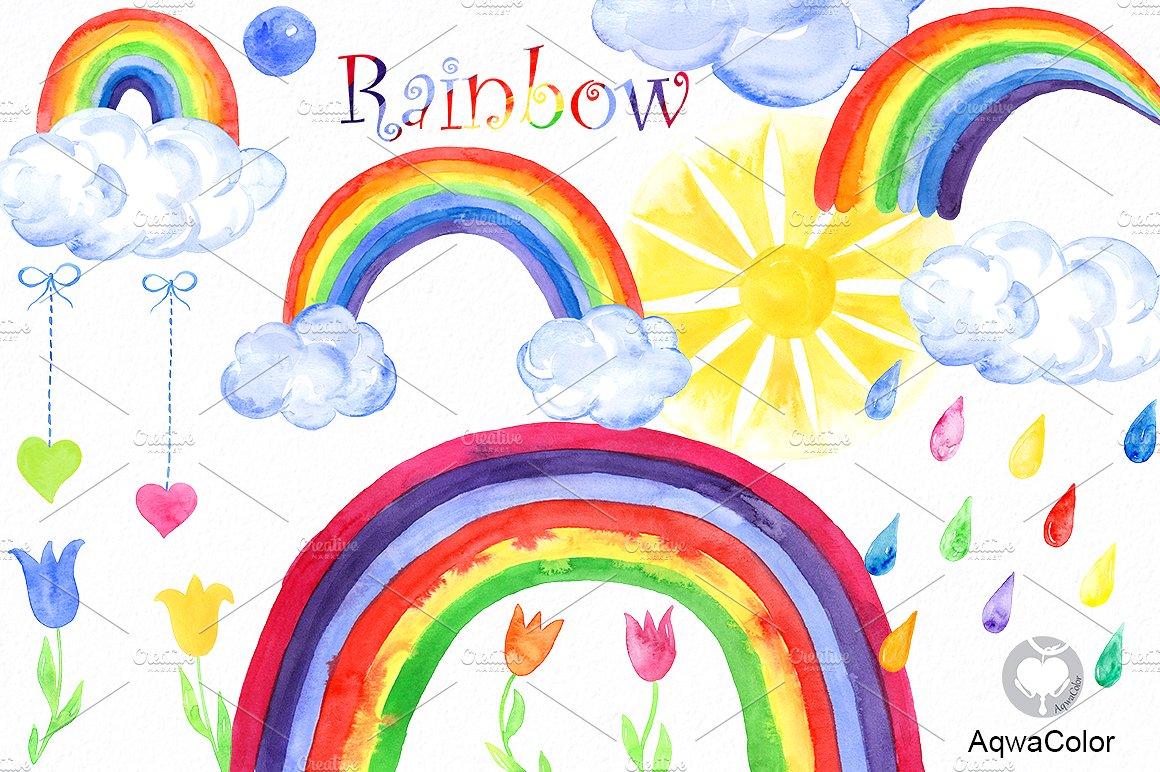 Clipart rainbow. Watercolor illustrations creative market