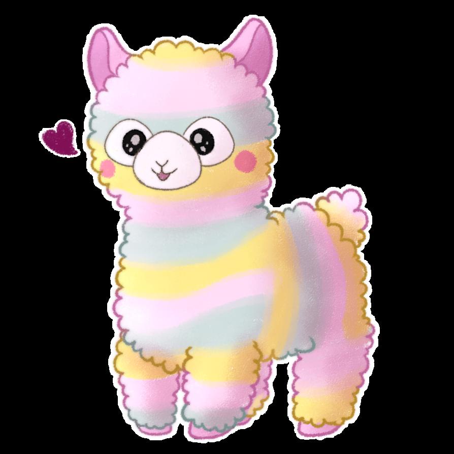 Rainbow by inukki on. Kawaii clipart alpaca