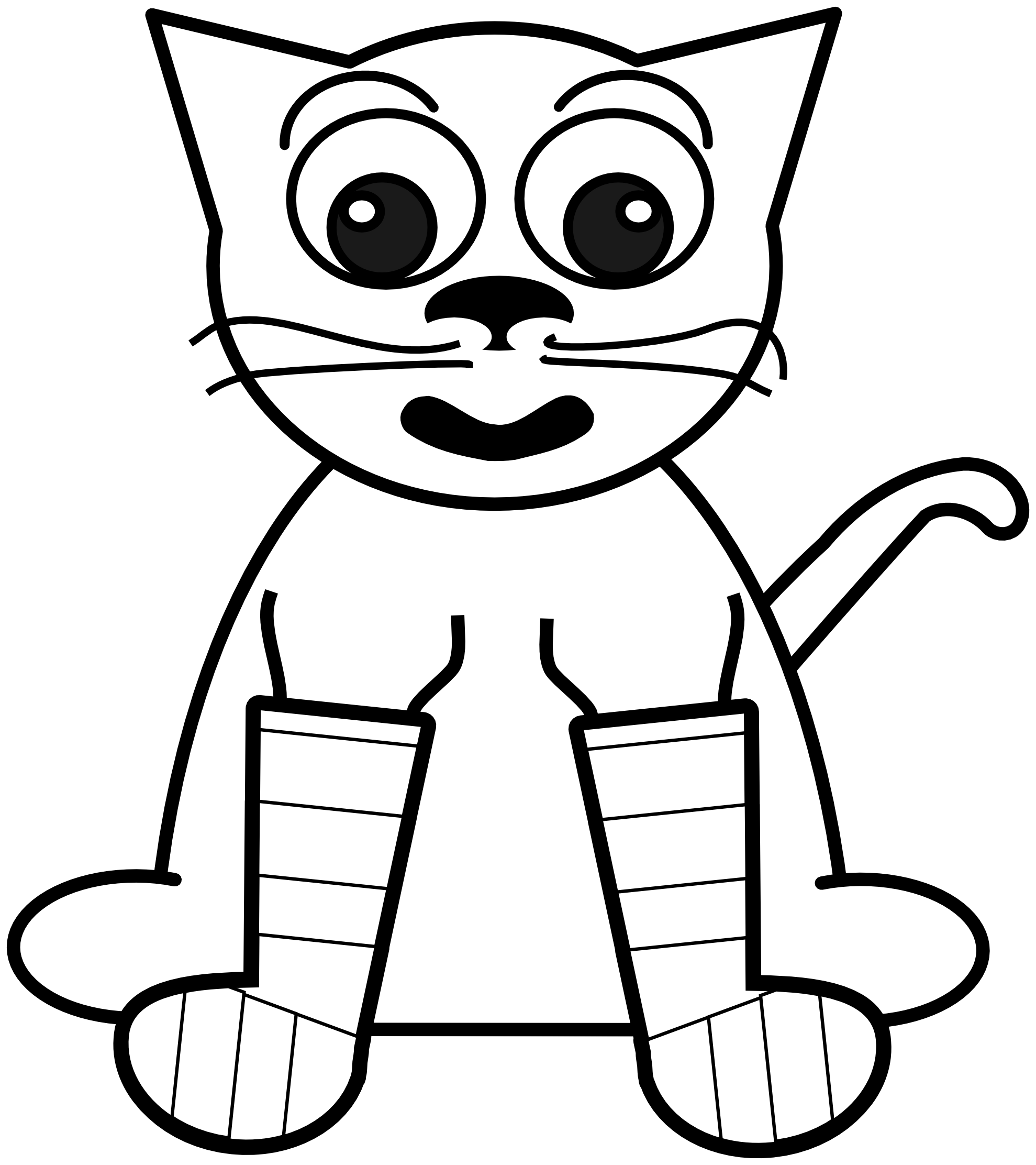 Rainbow black and white. Kitty clipart colouring