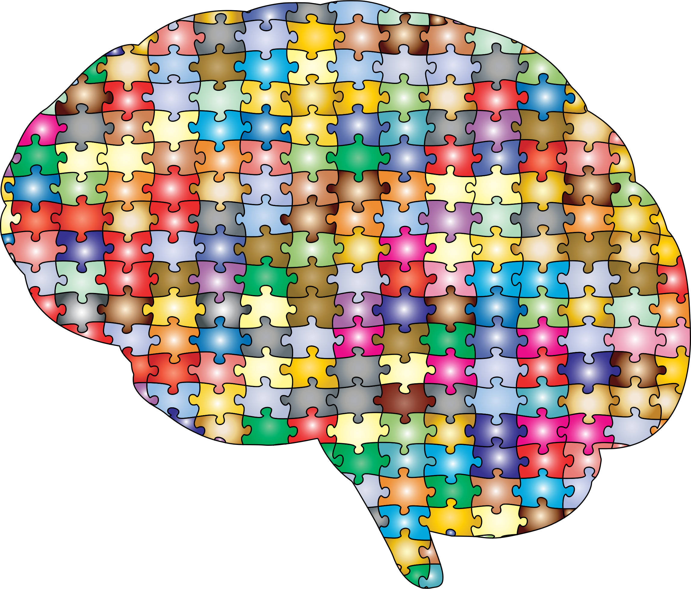 Psychology clipart puzzle head. Brain jigsaw prismatic with