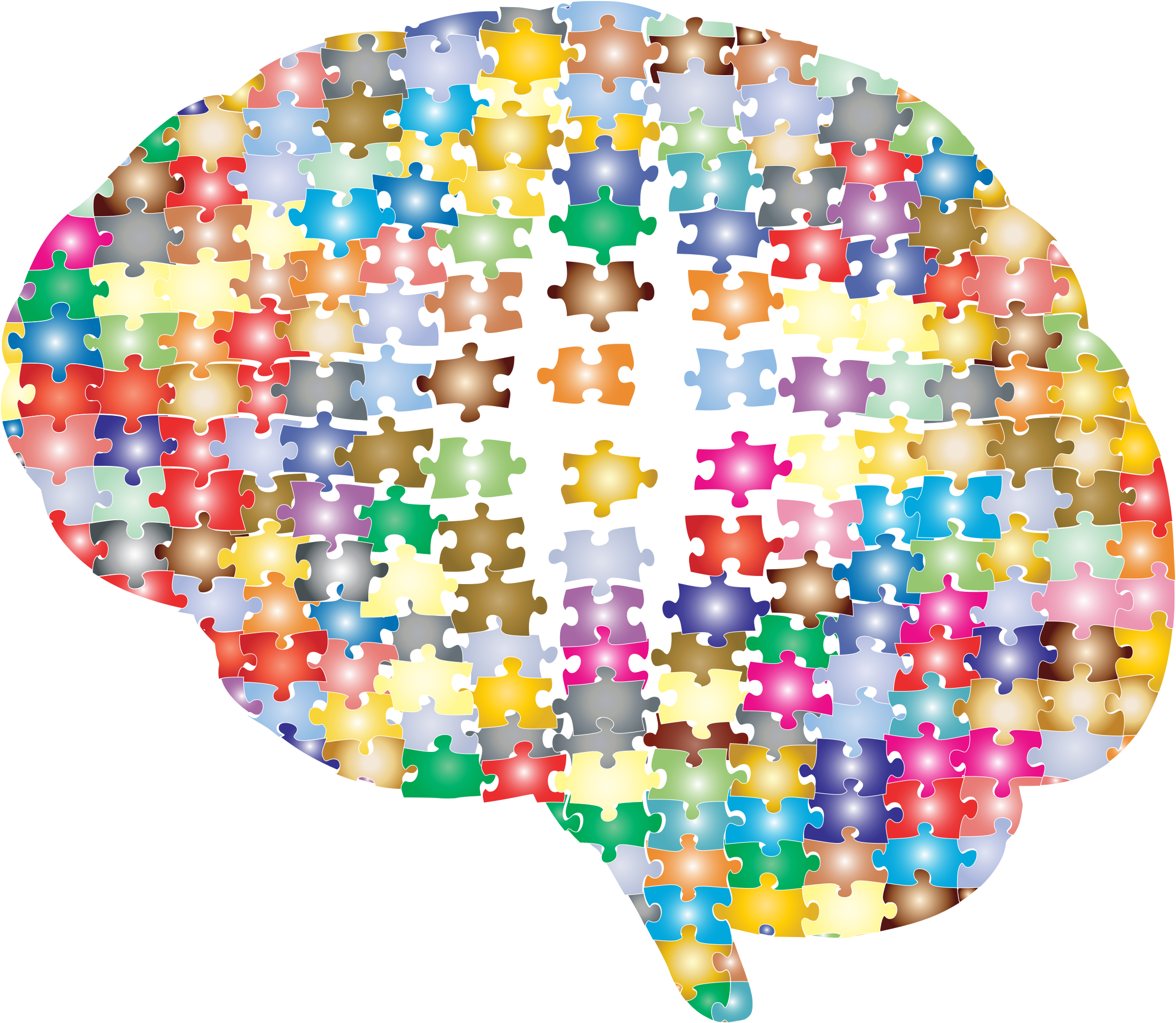 Psychology clipart puzzle head. Damaged brain jigsaw prismatic