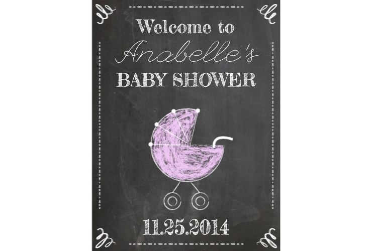 Baby shower sign signitup. Square clipart chalkboard