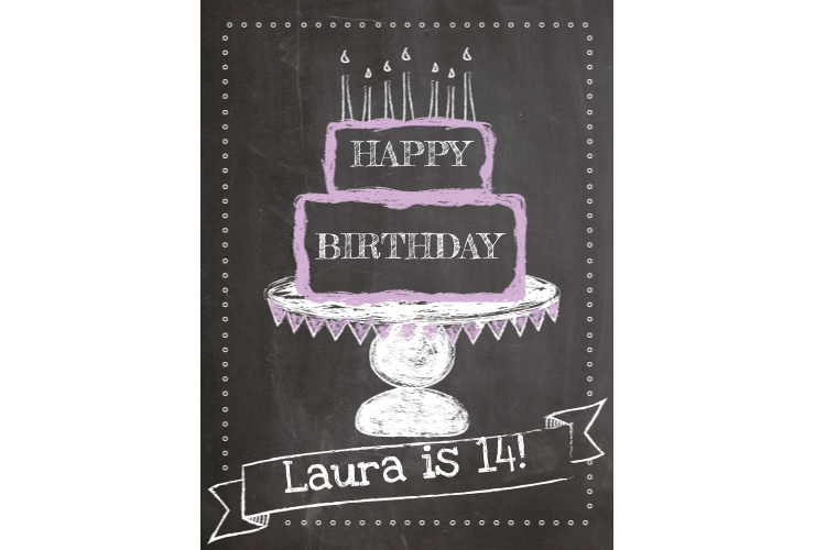 Square clipart chalkboard. Happy birthday style sign