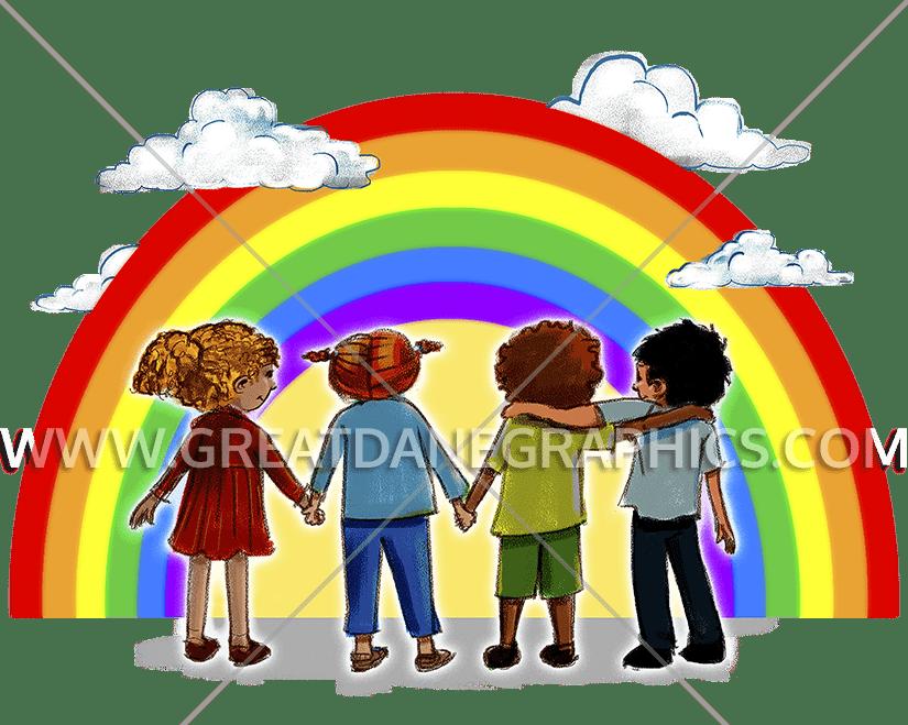 Kids production ready artwork. Heat clipart rainbow