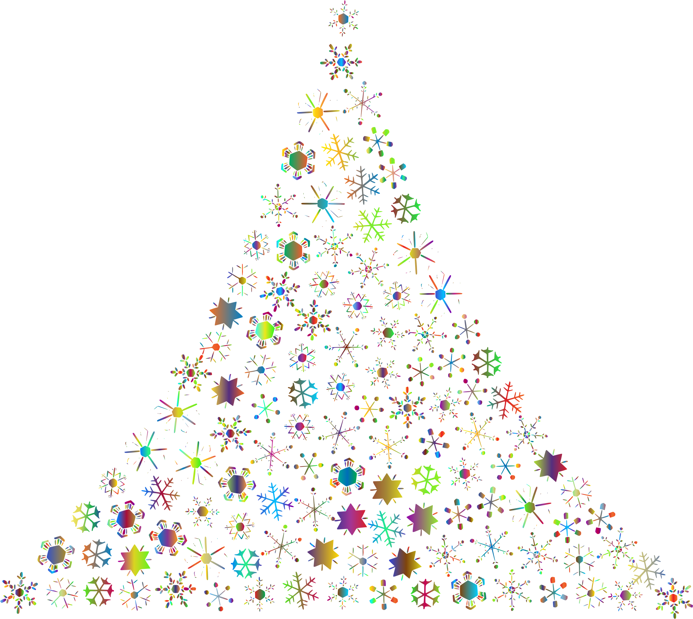 Prismatic snowflake tree no. Number 2 clipart christmas