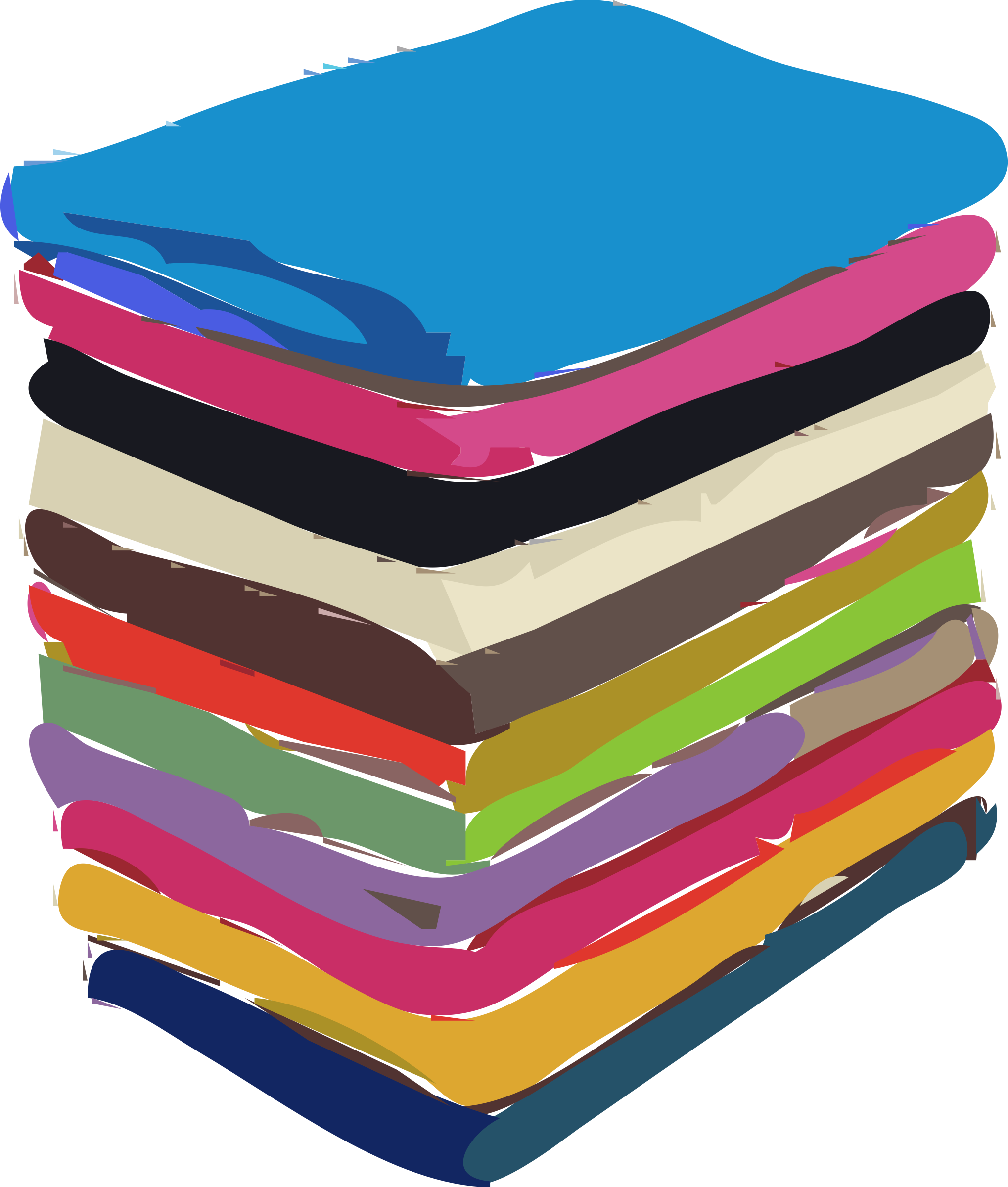 Rainbow towels big image. Napkin clipart folded napkin
