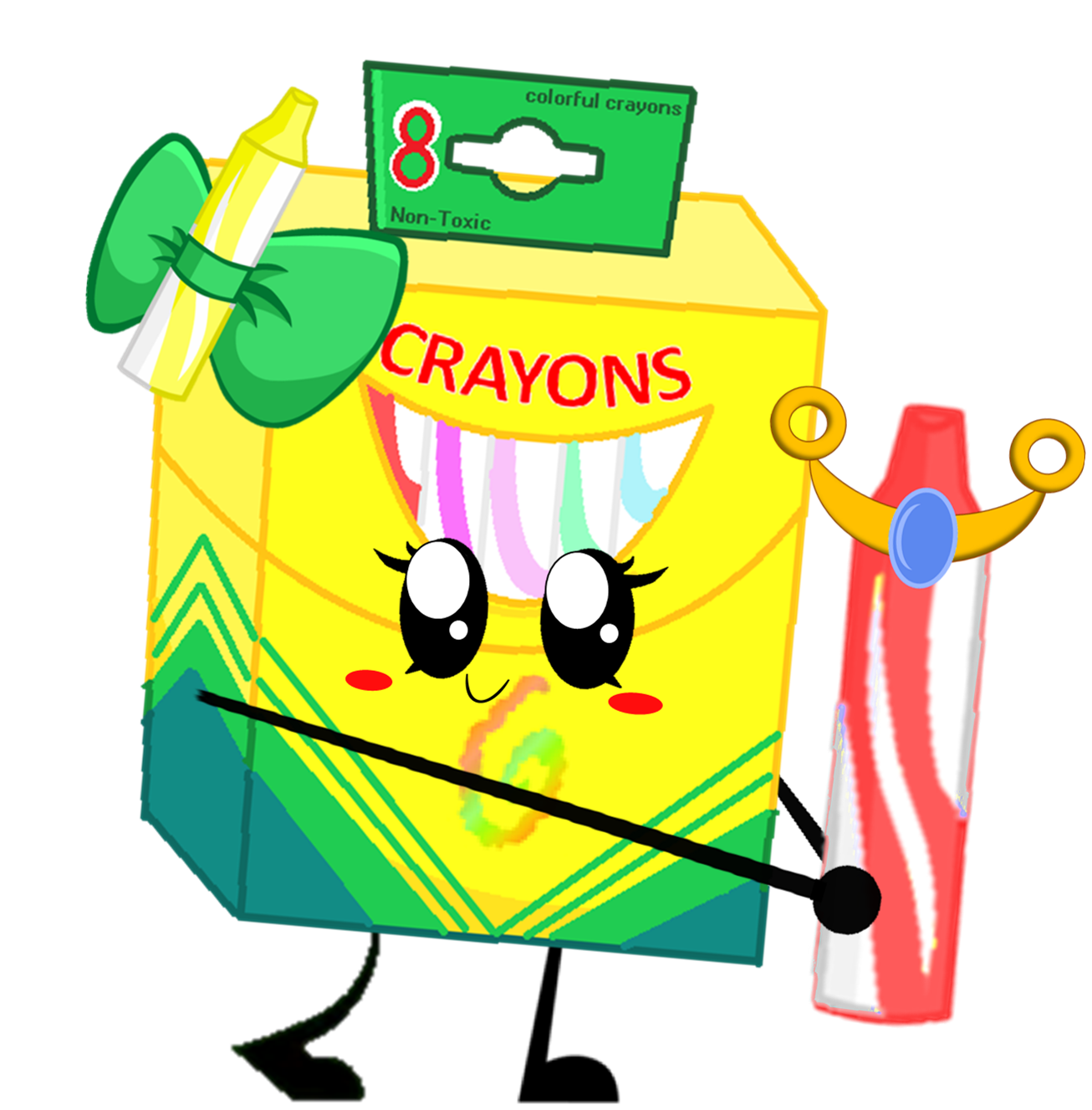 Box of article insanity. Crayons clipart green crayon