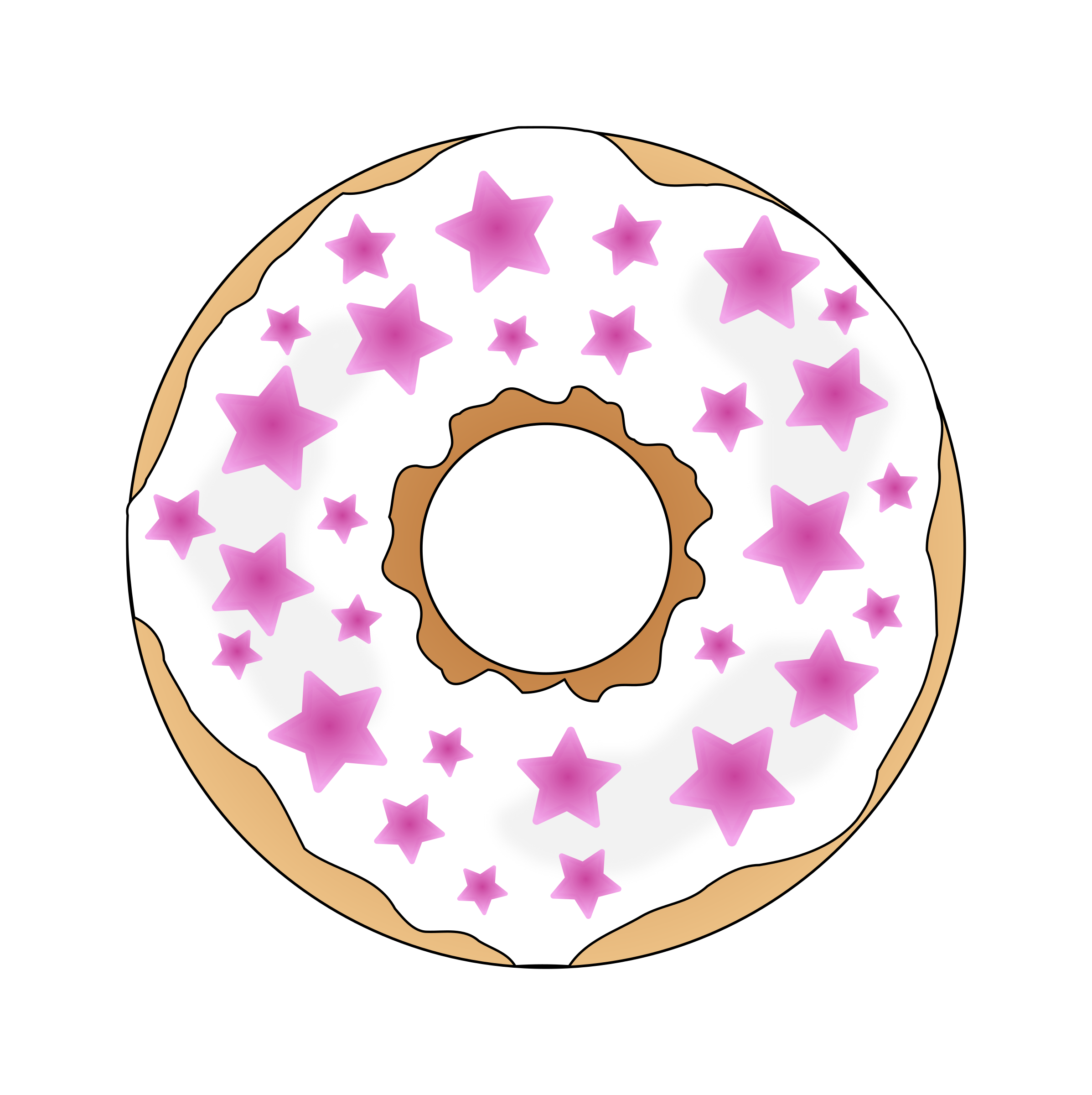 Pink stars icons png. Donut clipart svg