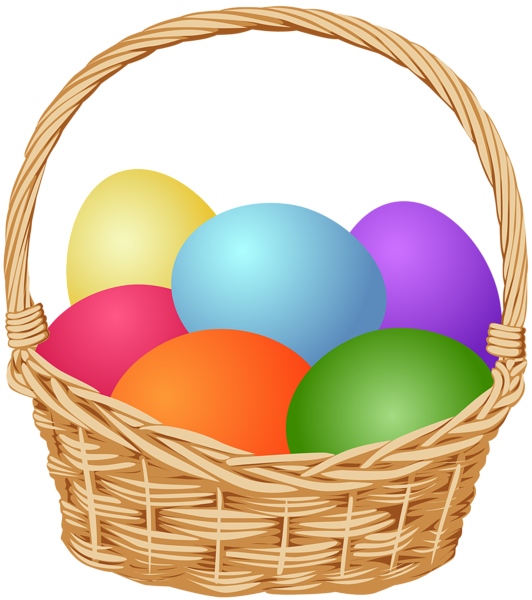 With easter eggs clip. Gift clipart full basket