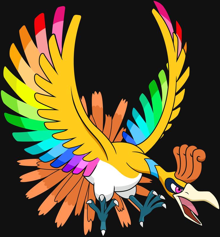 Clipart rainbow feather. Shiny ho oh pok