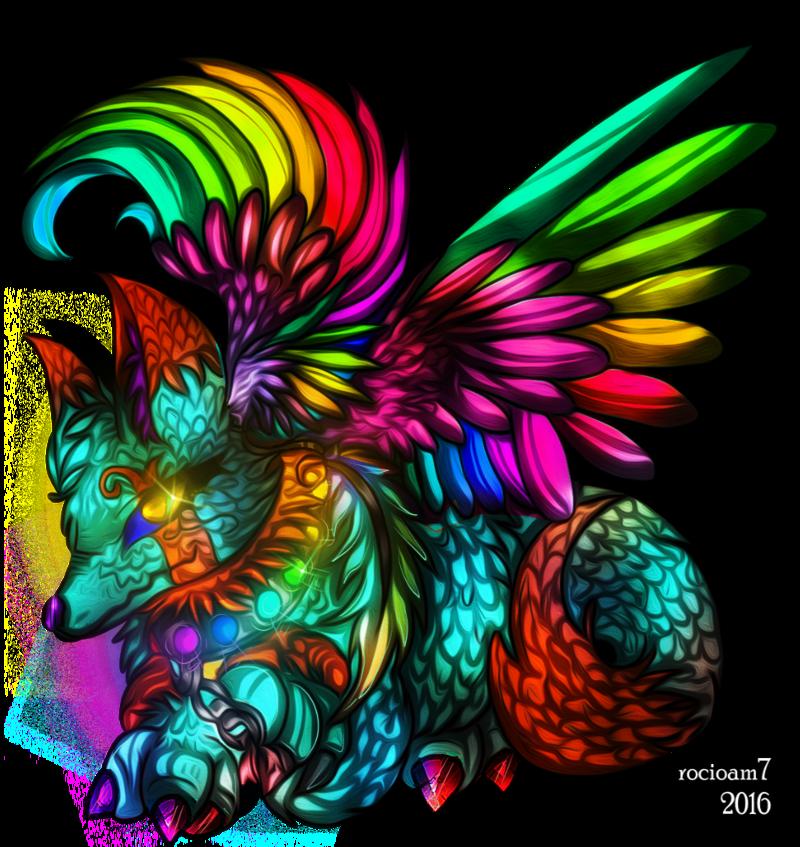 Clipart rainbow feather. Oc by rocioam on