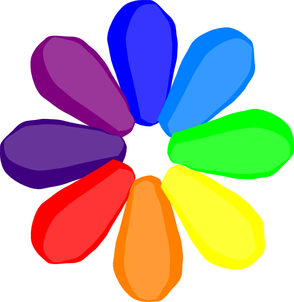 Bright clip art at. Clipart rainbow flower