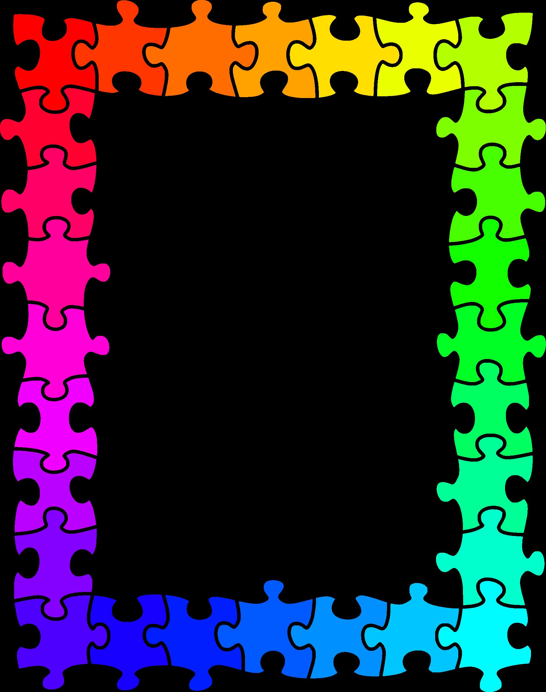 Jigsaw colours big image. Clipart rainbow frame