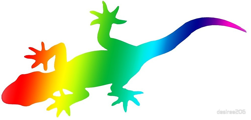 Gecko clipart rainbow. By desiree redbubble