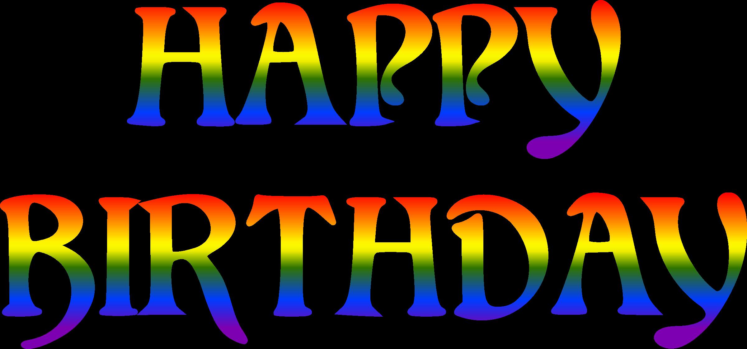 Clipart rainbow happy birthday. Typography big image png