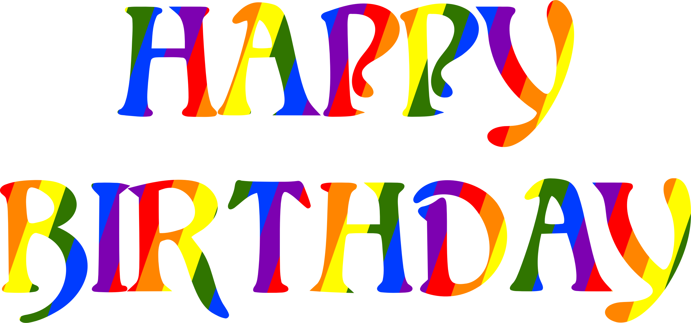 Number 3 clipart happy. Birthday rainbow typography big