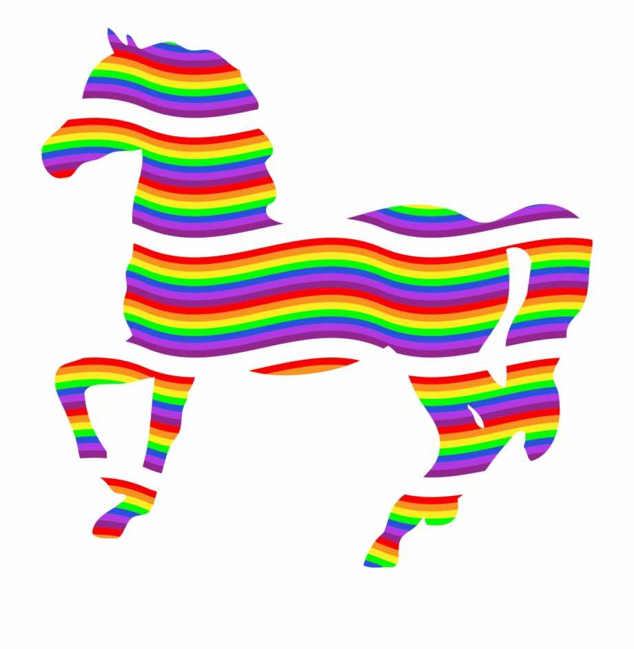Black and white stock. Clipart rainbow horse