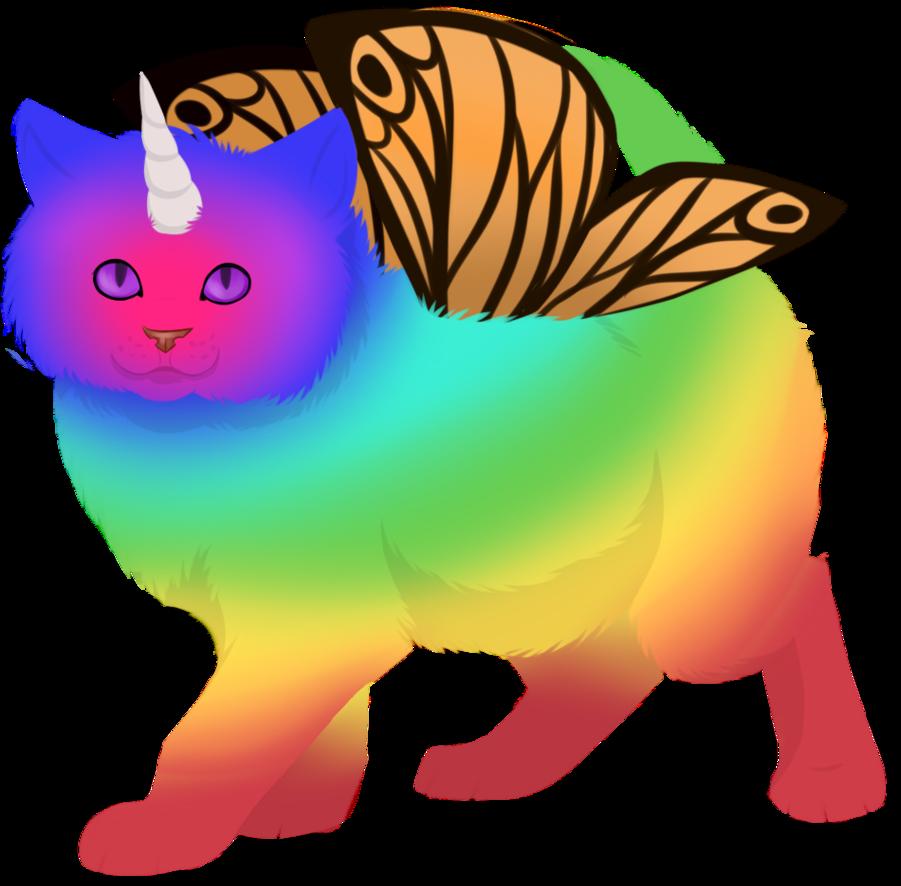 Rainbow unicorn by karaskakalac. Kitten clipart butterfly