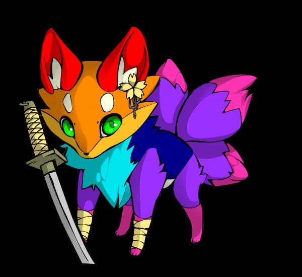 Clipart rainbow llama. Fox w sword by