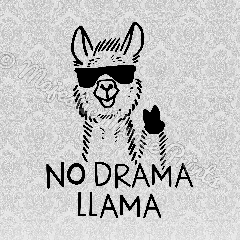 Words clipart drama. No llama decals and