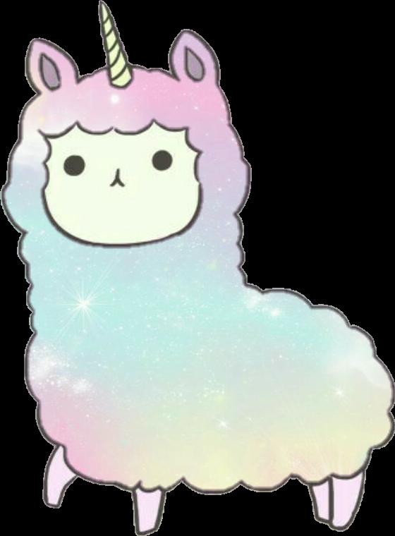 Alpaca unicorn animal stickers. Clipart rainbow llama