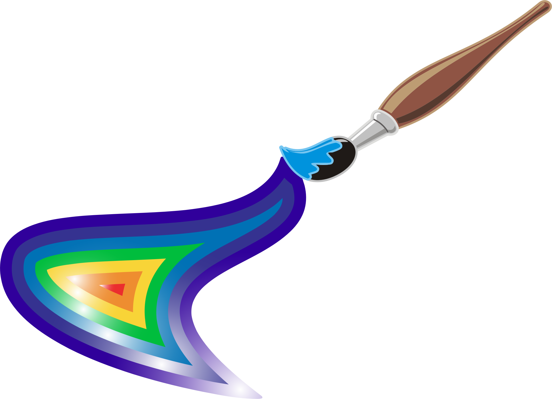 Clipart rainbow paint. Artists brush and big