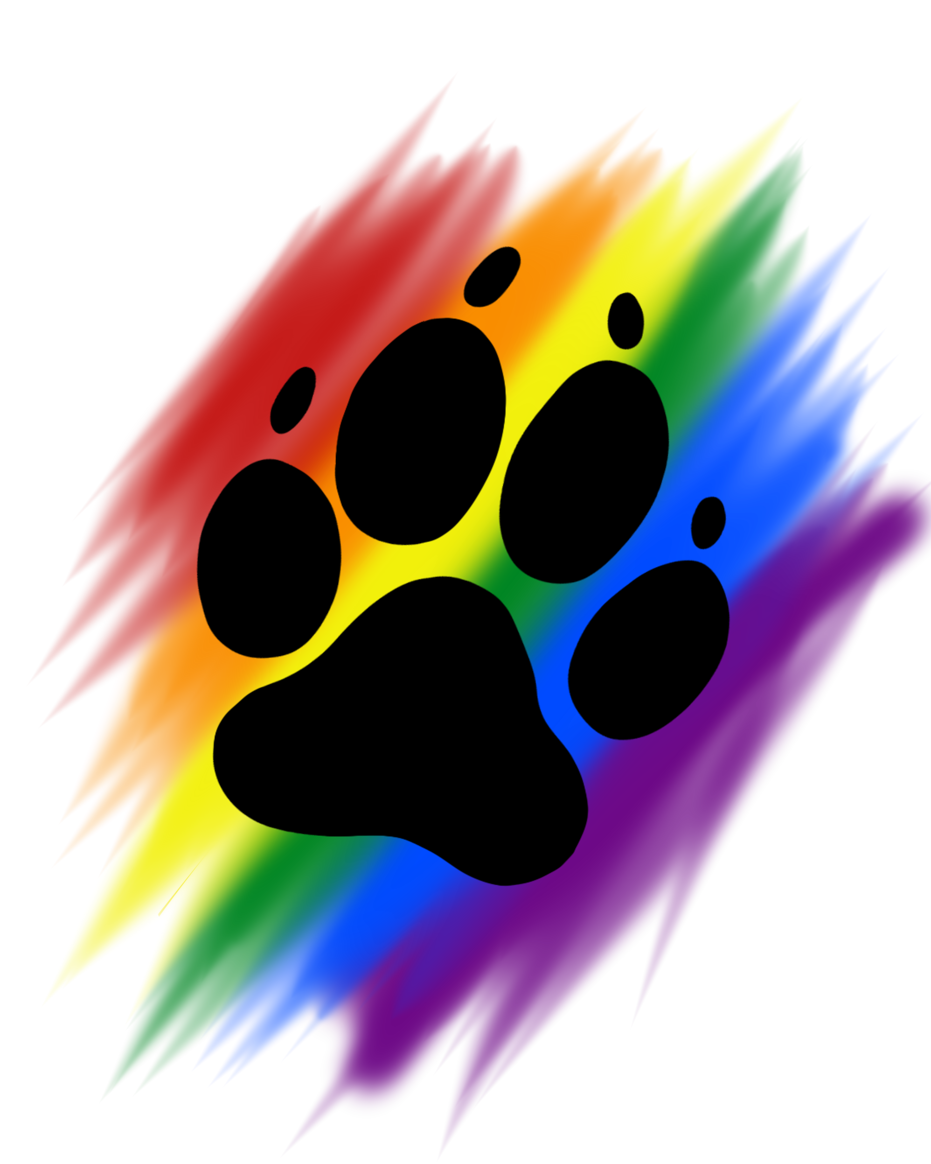 Brush print artworktee. Paw clipart rainbow