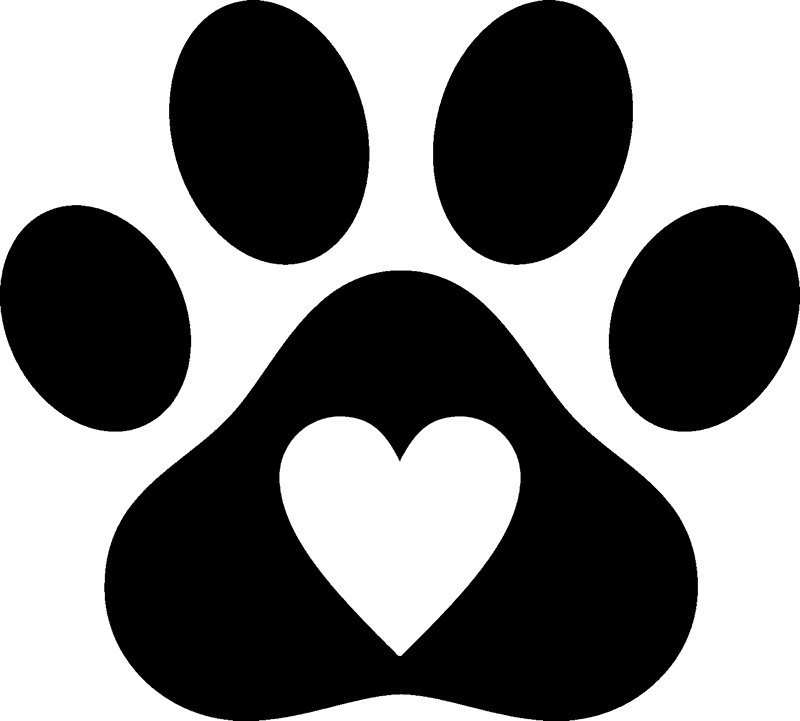 Paw print with heart. Stamp clipart rejection