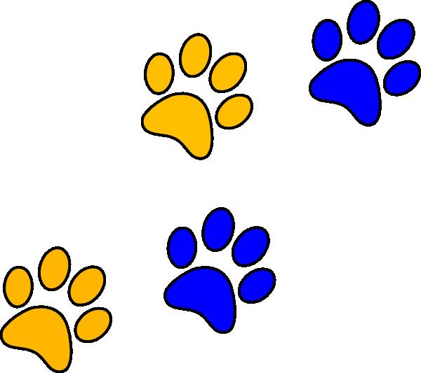 Pawprint clipart jpeg. Blue gold paw print