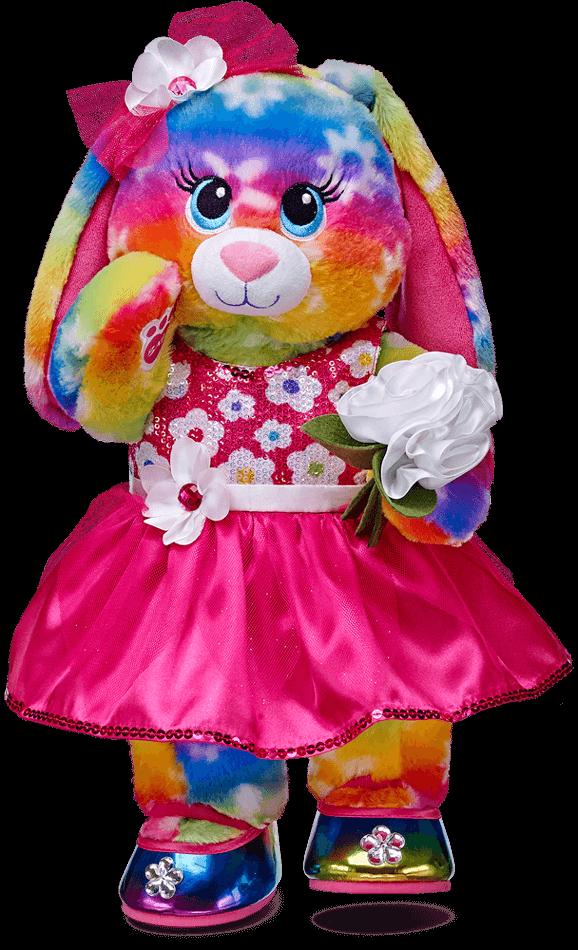 Clipart rainbow rabbit. Babw bright bunny dressed