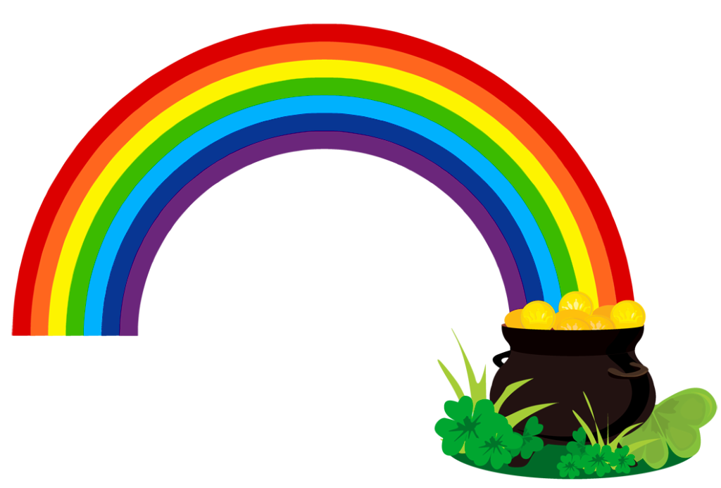 Clipart rainbow st patricks. Patrick pot of gold