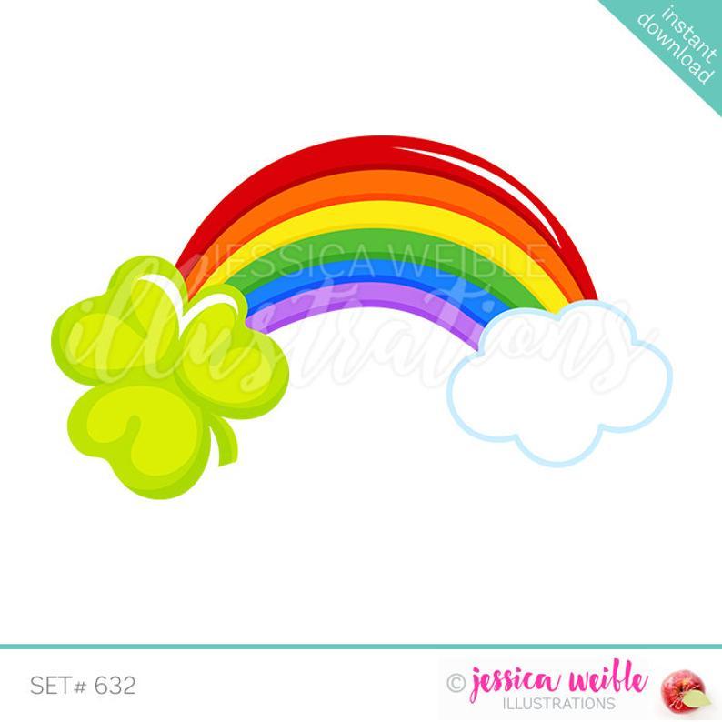 Day shamrock cute digital. Clipart rainbow st patricks
