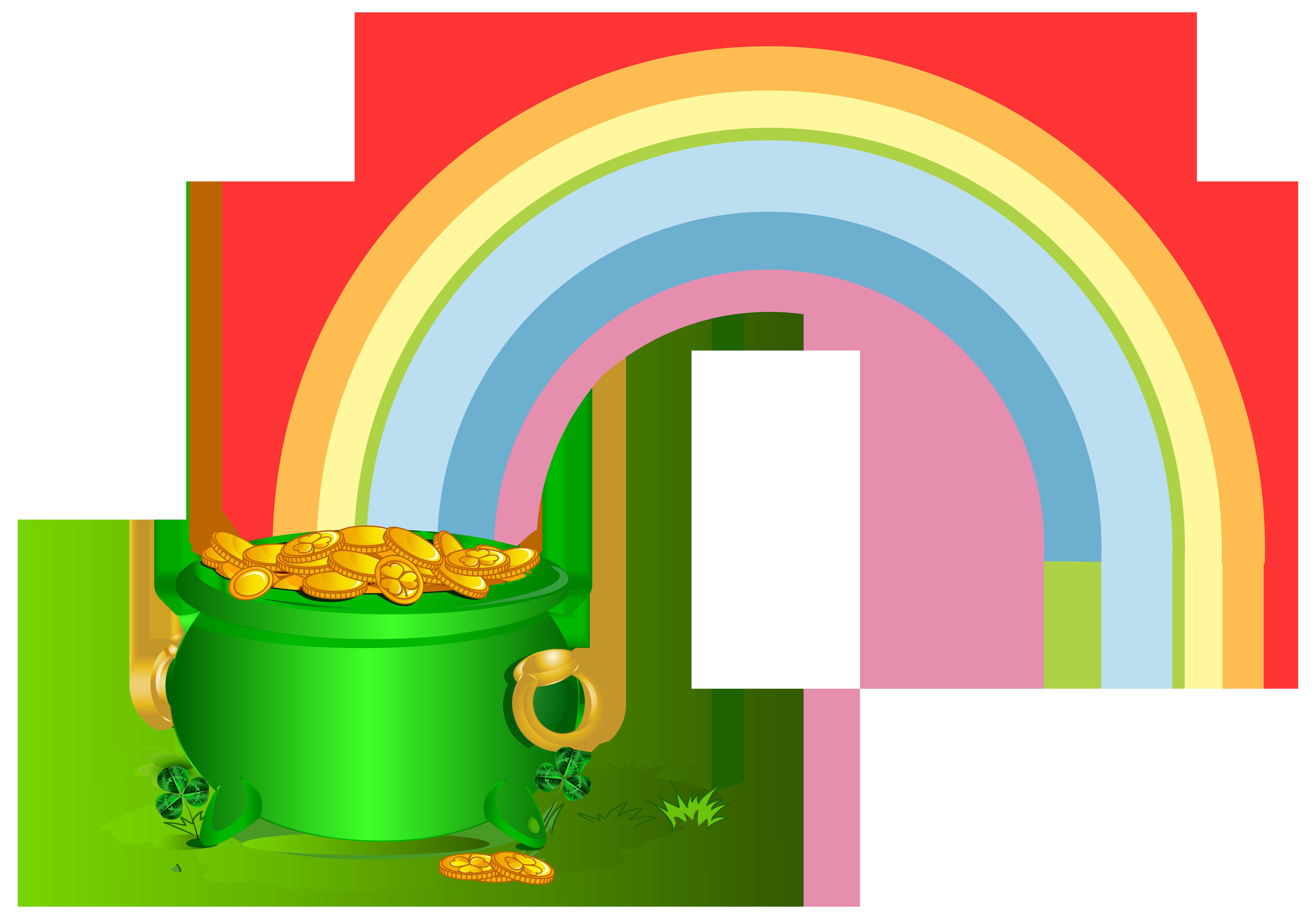 Clipart rainbow st patricks. Green pot of gold