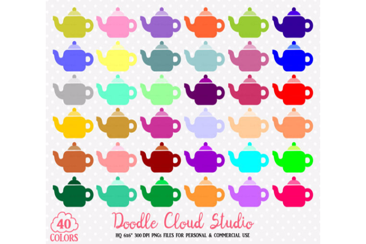 Clipart rainbow tea.  colorful teapot set
