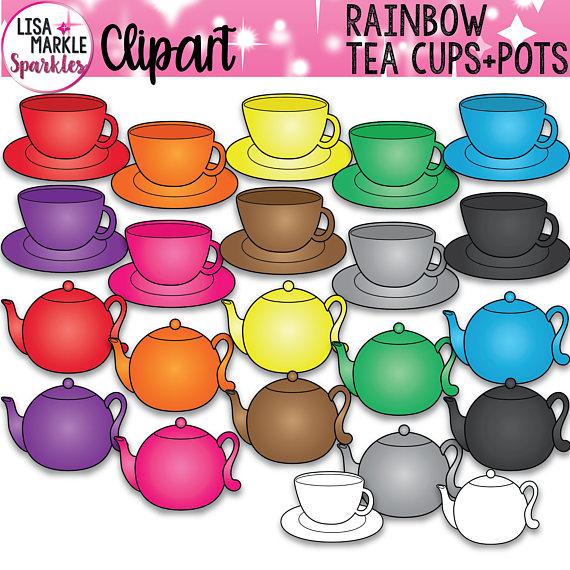 Cup pot party . Clipart rainbow tea