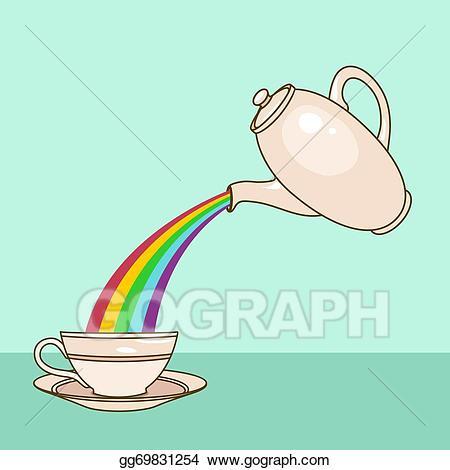 Clipart rainbow tea. Vector stock illustration gg
