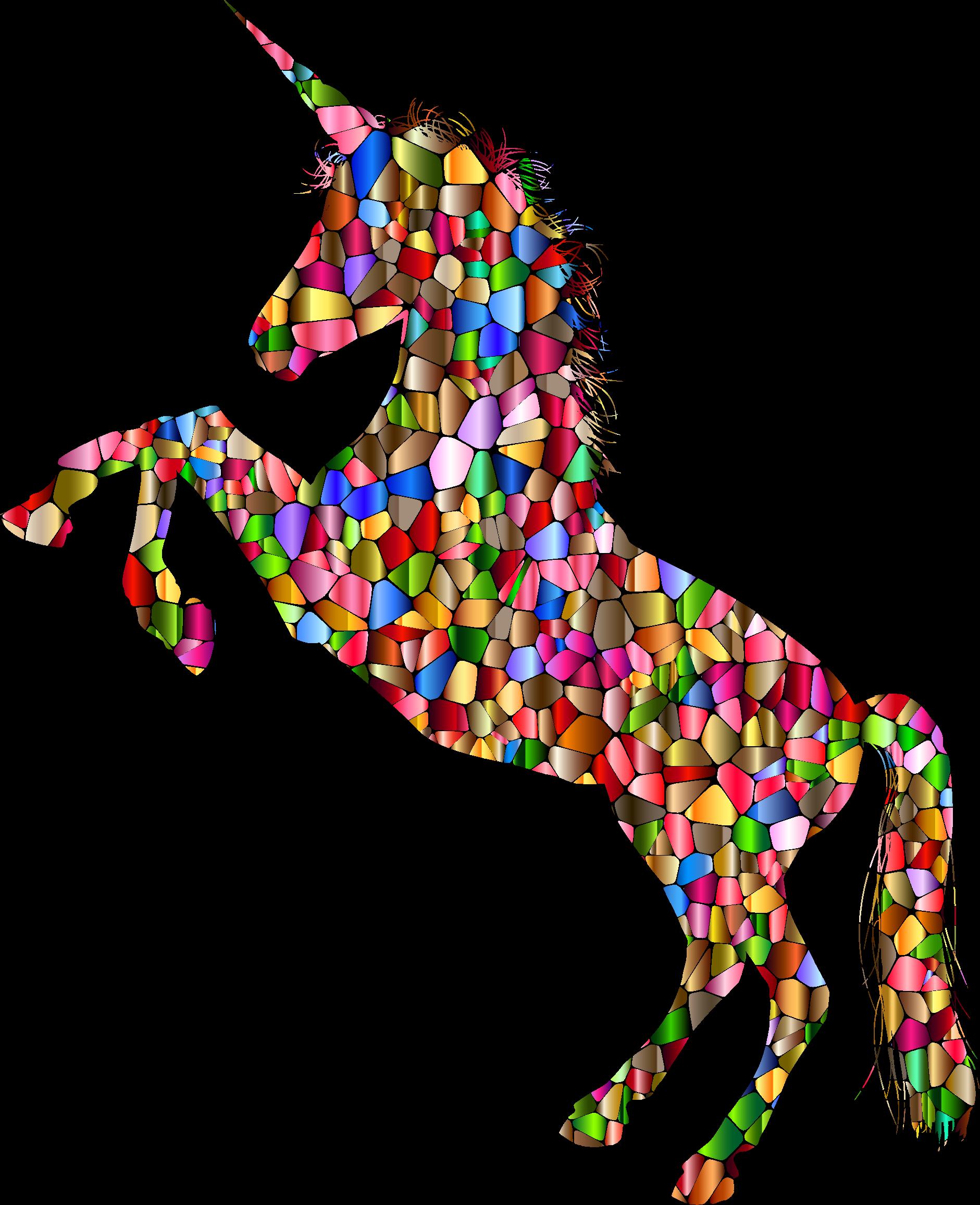 Clipart rainbow unicorns. Vibrant chromatic unicorn silhouette