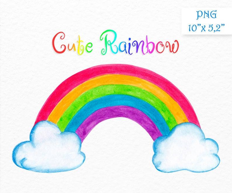 Digital clip art cute. Clipart rainbow watercolor