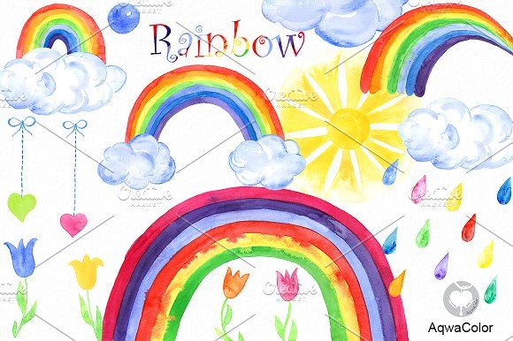 Clipart rainbow watercolor. By aqwacolor on creativemarket