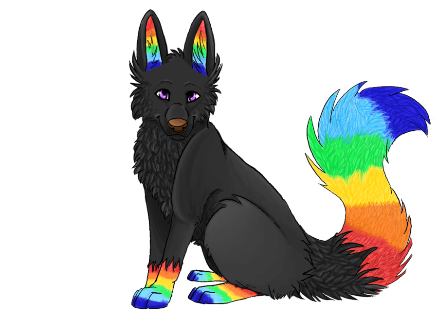 collection of fox. Clipart rainbow wolf