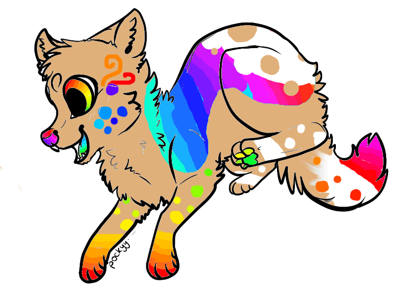 Rainbow wolf clip art. Wolves clipart flying
