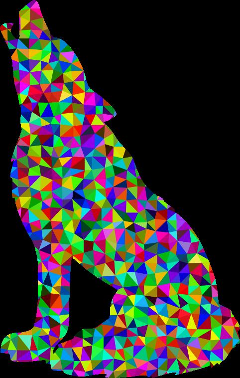 Prismatic low poly medium. Clipart rainbow wolf